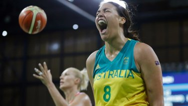 One for the Opals: Liz Cambage reacts after making a basket in Rio.
