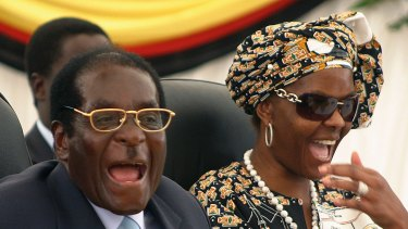 Zimbabwean President Robert Mugabe with his wife Grace in 2008. Her political elevation appears to have triggered this week's events.