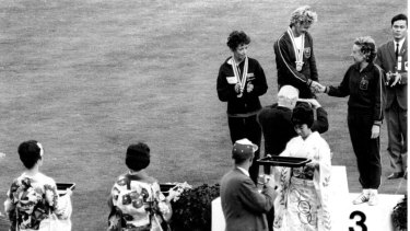 Betty Cuthbert tops the podium at the Tokyo Olympics in 1964.