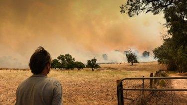 Fire burns in Masons Gap Road, Indigo Valley, near Wodonga.