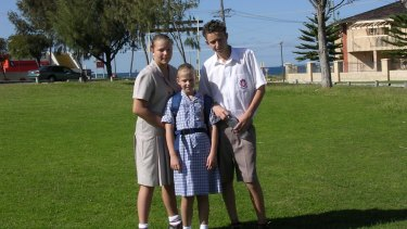 Flashback: First day in an Aussie school for Ashley, Hollie and Chelsie Metcalfe.