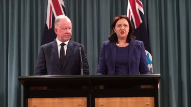 Commissioner Michael Byrne, with Premier Annastacia Palaszczuk, said focus on bikies had allowed other crime to flourish.
