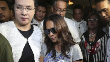 Maria Kristina Sergio, centre, the alleged recruiter of convicted Filipino drug trafficker Mary Jane Veloso.