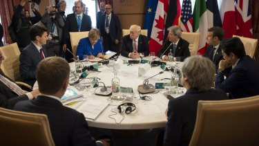 G7 leaders met in Sicily on Friday to discuss trade, climate change, refugees and other issues.