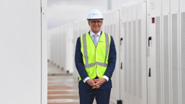All smiles now: SA Premier Jay Weatherill tours the new Tesla battery site at the start of December.
