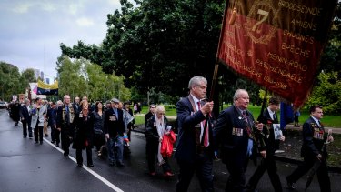 About 80 descendants of the original Anzacs held their own march near the Shrine on the Anzac Day.