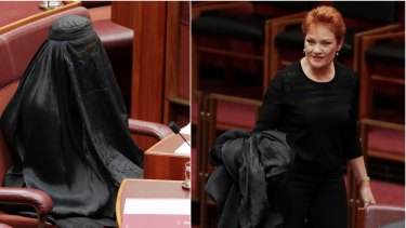 Senator Pauline Hanson wore a burqa into the Senate at Parliament House and it was not meant as a defence for women's rights.