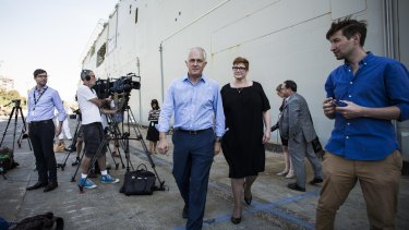 Prime Minister Malcolm Turnbull and Defence Minister Marise Payne at Garden Island in Sydney.