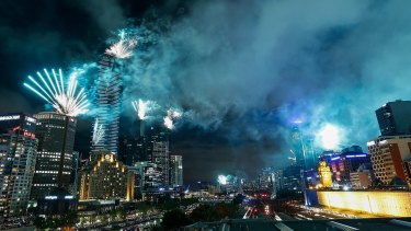 A view from Federation Square during the New Year's Eve celebrations on Saturday.