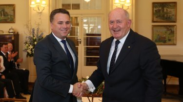 Jamie Briggs is sworn in as Minister for Cities and the Built Environment by Governor-General Sir Peter Cosgrove.