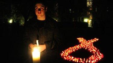 Liam Cullis of Gungahlin  during Canberra's International AIDS Candlelight Memorial.