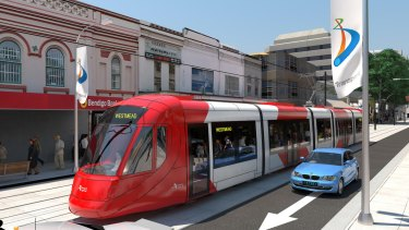 An artist's impression of how the light rail will look in the Parramatta CBD.
