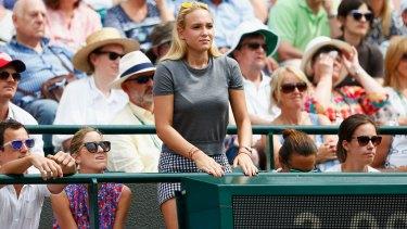 Kyrgios slur: Donna Vekic watches Stan Wawrinka in action at Wimbledon.