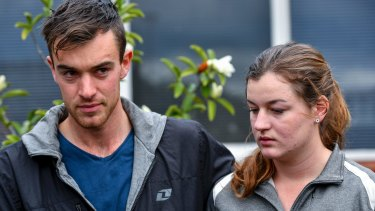 Mitchell and Ella Tromp speak to the media on Thursday.