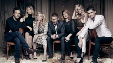 The cast of <i>The Present</i> at Sydney Theatre Company. From left: Chris Ryan, Jacqueline McKenzie, Cate Blanchett, Richard Roxburgh, Susan Prior, Anna Bamford, Toby Schmitz.