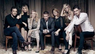 The cast of <i>The Present</i> at Sydney Theatre Company. From left: Chris Ryan, Jacqueline McKenzie, Cate Blanchett, Richard Roxburgh, Susan Prior, Anna Bamford, Toby Schmitz.