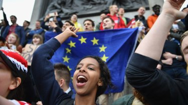 Protesters gather to demonstrate against the EU referendum result in Trafalgar Square.