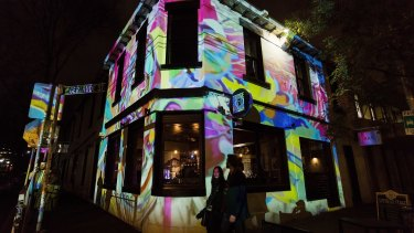The work of Sean Capone at the Gertrude Hotel for the Gertrude Street Projection Festival.