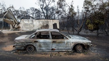 This car and sheds were destroyed but the house at this Platt's Road property at Scotsburn was saved.