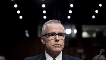 Acting FBI director Andrew McCabe waits to begin a Senate Intelligence Committee hearing on May 11.