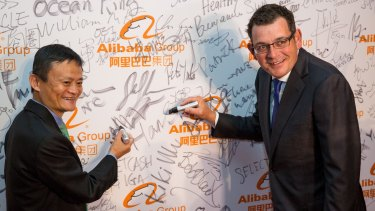Writing on the wall: Alibaba founder Jack Ma with Premier of Victoria Daniel Andrews at the launch of Alibaba's Australian and New Zealand headquarters.