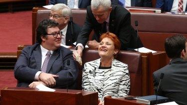 George Christensen and Pauline Hanson in Parliament.