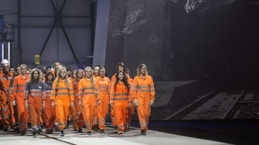 Artists perform during the opening show directed by German director Volker Hesse, on the opening day of the Gotthard rail tunnel.