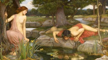 John William Waterhouse's 1903 depiction of the myth of Echo and Narcissus, as told in Ovid's Metamorphoses.