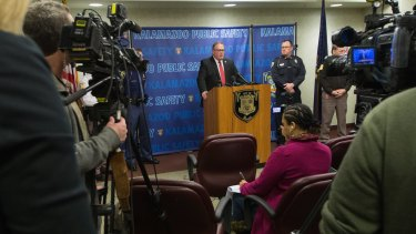 Jeff Getting, prosecuting attorney, speaks during a news conference on Sunday following the arrest of Jason Dalton in connection with shootings in Kalamazoo.