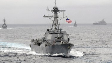 The Obama administration policy has been to conduct periodic air and naval patrols to assert the right of free navigation in the South China Sea.