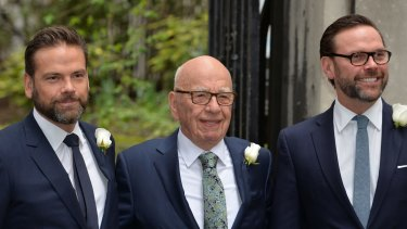 Media Proprietor Rupert Murdoch with his sons James, right, and Lachlan, left.