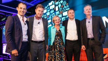 Ten CEO Paul Anderson, Seven CEO Tim Worner, Think TV CEO Kim Portrate, Foxtel CEO Peter Tonagh, and Nine CEO Hugh Marks at the Think TV Conference.