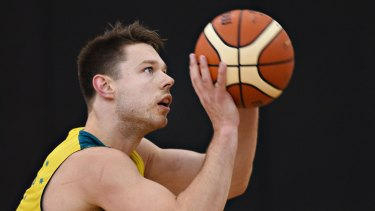 Proud: Cleveland Cavalier Matthew Dellavedova in training before the Boomers' Olympic qualifier against New Zealand.