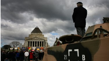 Vietnam War veterans atttend the 40th anniversary of the Battle for Long Tan at the Shrine of Remembrance in Melbourne.