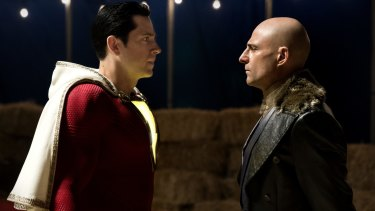 Levi (left) and Mark Strong battle it out as good and evil in the superhero film.