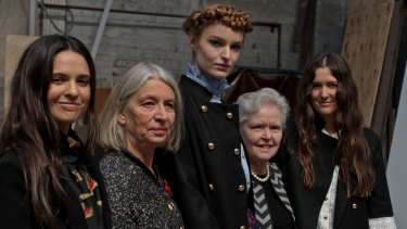 Fashion desgners Beth and Tess Macgraw with their assistants from the Country Women's Association Annette Hinde and Janet Luce with model Brooke Durrant.