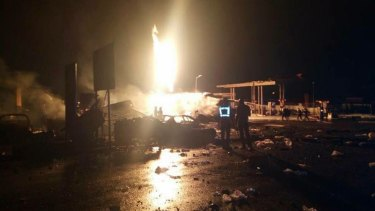 The explosion began at a state-owned liquefied natural gas station and spread to a petrol station across the street.