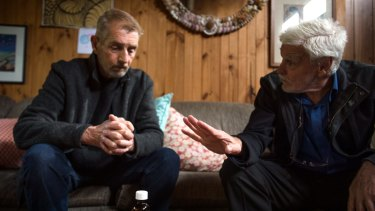 Cancer sufferer Ray Godbold, left, talking to Dr Rodney Syme, of Dying with Dignity Victoria.