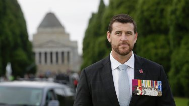 Ben Roberts-Smith on Anzac Day this year at the Shrine of Remembrance in Melbourne.