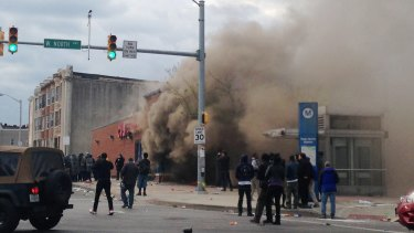 Smoke billows from a chemist located in Baltimore.