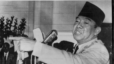 Indonesian President Sukarno pictured when denying he had 'transferred power' to  Suharto in July, 1966.