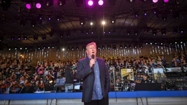 Denis Walter at the Carols by Candlelight rehearsal at the Sidney Myer Music Bowl.