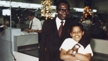 Barack Obama, 10, and his father on the only visit Obama snr ever made to see his son after returning to Kenya in 1964.