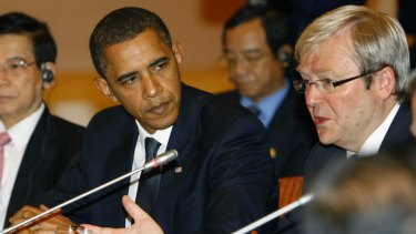 Kevin Rudd with Barack Obama at APEC in 2009.