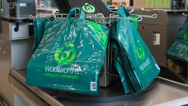 Woolworths' new thicker reusable plastic bags that are to replace single-use plastic bags.