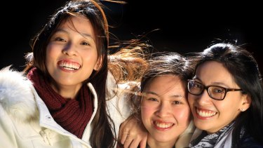 From left: Andrea, 25, Adrienne, 21, and Audrey, 30, are Malaysian-born sisters who have undergone tertiary studies in Sydney.