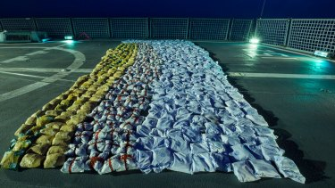 Parcels of heroin laid on following a seizure by a boarding party from HMAS Warramunga.
