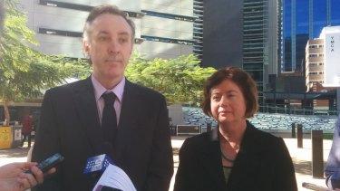 Coast and Country spokesman Derec Davies and EDO CEO Jo Bragg speak to media outside the Supreme Court.