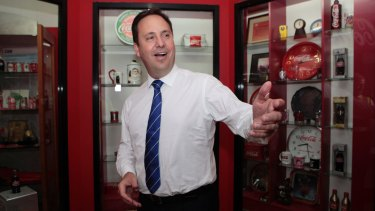 Trade and Tourism Minister Steven Ciobo visits a Coca Cola Amatil facility in Cibitung, Indonesia on Wednesday.