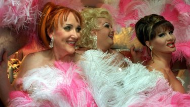 The Showbags drag queens, Amanda Monroe, Jessica James and Vivien St James, performing at the Greyhound Hotel in 2002.
